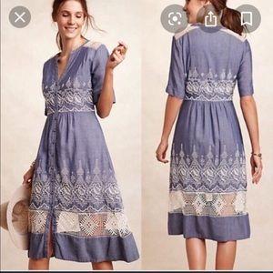 Vintage Style Countryside Chambray Midi-Dress